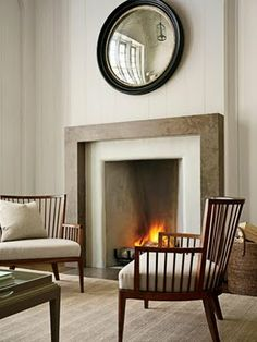 Pretty fireplaces I love this thick wood mantel