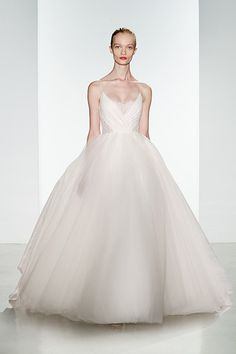 Main Image - Christos Bridal 'Penny' Lace Inset Spaghetti Strap Tulle Ballgown (In Stores Only) Most Expensive Wedding Dress, Best Wedding Dresses, Designer Wedding Dresses, Bridal Dresses, Wedding Gowns, Wedding Suite, Tulle Wedding, Christos Bridal, Princess Ball Gowns
