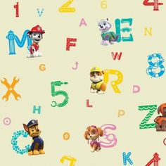 Paw Patrol Numbers Letters Ryder Chase Marshall 100% Cotton Curtain Fabric