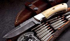 Damascus steel Hunting/skinn knife – KBS Knives Store Damascus Blade, Damascus Steel, Skinning Knife, Edc Knife, Folding Pocket Knife, Handmade Knives, Bones, Hunting Knives, Hobbies