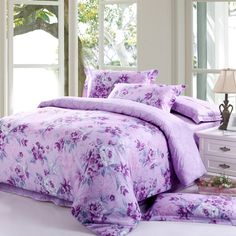 Light Purple and Teal Elegant Country Floral Luxurious 100% Egyptian Cotton Full Size Bedding Sets