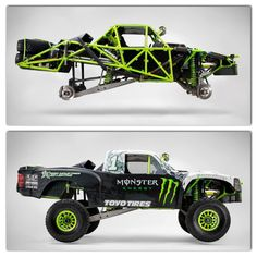 Monster baja truck with and without skin - note the long arm rear suspension. Sold on this idea.