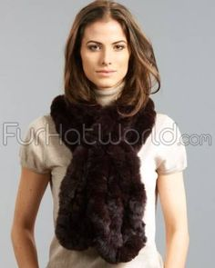 Rex Rabbit Fur Scarf - Brown | Fur Hat World