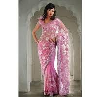 pink  Net Wedding and Bridal Embroidered Saree