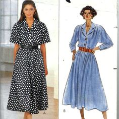 Butterick Sewing Pattern 4613 Loose Dress Blouson Bodice Flared Skirt 14 16 18 #Butterick