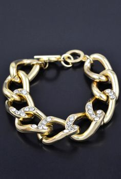 Chain Reaction Ribbon Chain Rhinestone Bracelet in Gold