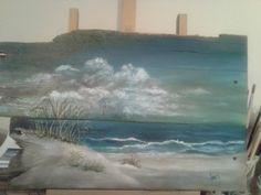 Original Ocean Seascape Painting On Reclaimed Wood Shabby Chic Beach Cottage Beach Decor