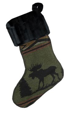 Moose Christmas Stocking - Western Decor - Cabin Decor