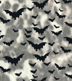 Halloween Fabric-Flocked Bats Organza Tie Dye Fabric