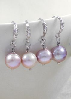 Pretty Freshwater Pearl Earrings - i love the fancy earwire with the simple wire wrap.
