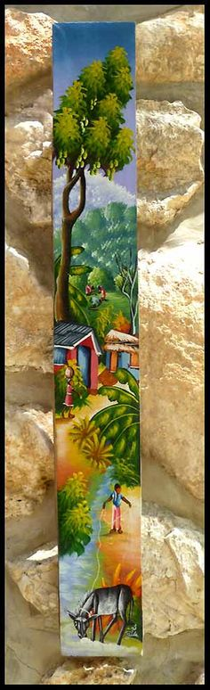 Haitian Village Scene Canvas Painting  Hand by TropicAccents, $22.95