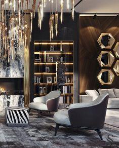 Stunning living room f interior design House Paint Interior, Office Interior Design, Luxury Homes Interior, Luxury Home Decor, Living Room Designs, Living Room Decor, Luxurious Bedrooms, Luxury Living, Interiores Design