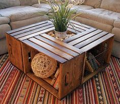 crate coffee table 10 Useful DIY Home Projects Wine Crate Coffee Table, Wood Crate Table, Wood Crate Shelves, Crate Stools, Pallet Tables, Crate Ottoman, Crate Bookshelf, Coffee Table Upcycle Ideas, Coffee Table Made From Crates