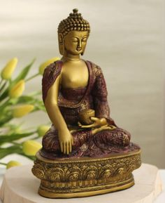 Artistic statue with gold colored finish depicts Buddha meditating in the earth touching pose, a gesture based on the story of his enlightenment. Meditating Buddha Statue, Buddha Meditation, Meditation Space, Meditation Music, Guided Meditation, Buddha Statues, Amitabha Buddha, Buddha Painting, Painting Canvas