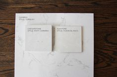Carrera marble imposters -- Ceasarstone in Misty Carerra, Silestone in Yukon Blanco and Cambria in Torquay