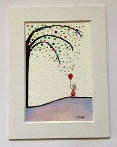 Lonely Girl Series Original Watercolour Illustration Red Balloon Tree