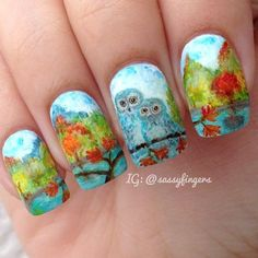 Owls and fall tree nails Owl Nail Art, Owl Nails, Tree Nails, Nail Polish Art, Cute Nail Art, Fingernail Designs, Nail Polish Designs, Nail Art Designs, Creative Nail Designs