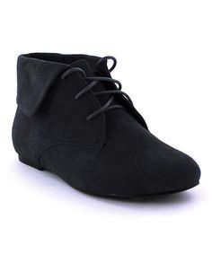 Black Sally Fold-Over Ankle Boot #zulily #zulilyfinds
