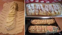 Prokládaný křehký závin s tvarohovou náplní a jablky | NejRecept.cz Strudel, Tiramisu, Sausage, Dairy, Cooking Recipes, Yummy Food, Bread, Snacks, Stollen