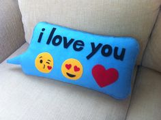 Text message pillow with emojis ❤️ handmade on felt