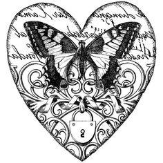 butterfly, heart, locket, fillagree