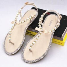 2017 bow women's flip-flop sandals flip flops rhinestone pearl sandals female flat sandals women's shoes plus size 33--43
