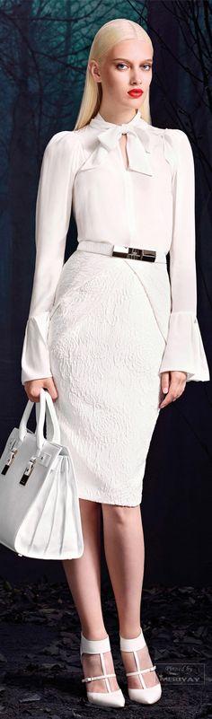 Elisabetta Franchi F/W white dress women fashion outfit clothing style apparel closet ideas White Fashion, Love Fashion, Womens Fashion, Fashion Trends, Fashion Bags, Women's Dresses, Beautiful Outfits, Cool Outfits, Fashion Vestidos