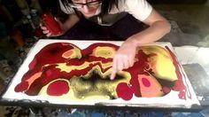 Fluid Painting Technique - Black/Red/Orange/Yellow