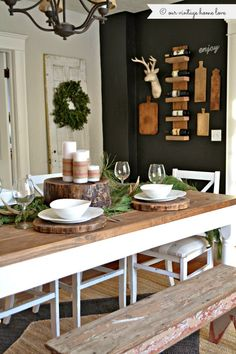 Rustic Country Dining-room + Vintage + Log Cabin + West design + Christmas