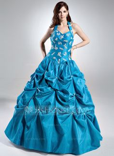 Ball-Gown Halter Floor-Length Taffeta Quinceanera Dress With Ruffle Lace Beading Sequins