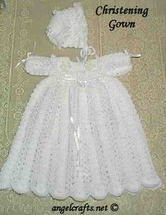 Free Crochet Baby Christening Gown Pattern  CHECK OUT ALL THE SWEET FREE PATTERNS FOR DRESSES