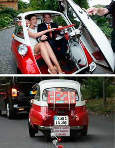 Sep Prince Felix of Luxembourg married his German love Claire Lademacher in the town of Königstein, near the bride's home city Frankfurt. And, they drove off in a vintage BMW. Weird Cars, Cool Cars, Prince Felix, Bmw Isetta, Vintage Vans, Unique Cars, Small Cars, Bmw Cars, Custom Cars