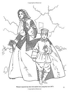 Civil War Fashions Coloring Book Dover Fashion Amazonco