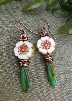 Rustic Flower Earrings Picasso Czech Glass White by BonArtsStudio Flower Earrings, Beaded Earrings, Earrings Handmade, Handmade Jewelry, Flower Jewelry, White Earrings, Copper Earrings, Beaded Bracelets, Etsy Jewelry
