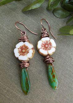 Rustic Flower Earrings Picasso Czech Glass White by BonArtsStudio