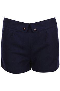ROMWE | Retro Folding Heart Buttoned Dark-blue Shorts, The Latest Street Fashion