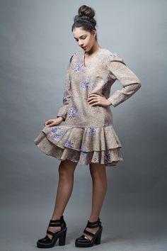 vintage VERA dress L 70s floral drop waist tier layer signature lining