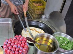 Veggie Chinese street food - scallion pancakes with eggs and sweet sauce