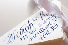 Custom Calligraphy Envelope Addressing for a Winter Wedding, by Someday Print Co. Blue watercolour ink on cream paper. Elegant Traditional Calligraphy style. Montreal Calligraphy, Illustration & Design.