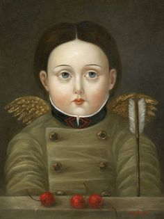 Girl with Wings, Arrow and Cherries | FATIMA RONQUILLO. I love this artist. Wish I had bought some of her works when a friend first showed them to me!
