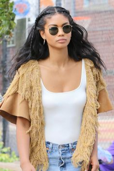 Chanel Iman's face-framing plaits keep her wavy raven lengths out of her eyes.