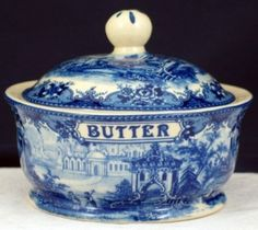 Blue And Off White China Butter Dish.
