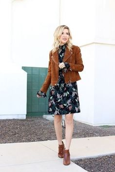 How to wear: brown suede biker jacket, black floral chiffon shift dress, brown Thanksgiving Fashion, Casual Fall Outfits, Winter Outfits, Floral Outfits, Stylish Outfits, Minimalist Fashion Women, Jackets For Women, Clothes For Women, Cardigan