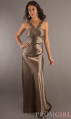 Full Length V-Neck Gown at PromGirl.com  $89.00