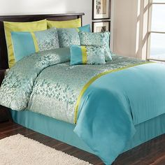 Update your bedroom decor with this Eden 8-pc. Comforter Set. Detailed jacquard leaf pattern and bold colors give this give this bedroom set contemporary style. Silky, yet soft fabric ensures the utmost in luxurious comfort. Set includes: comforter, 2 shams, bedskirt, 2 Euro shams & 2 decorative pillows. $329.99-$359.99