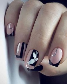 AND HOTTEST FRENCH NAIL ART DESIGNS IDEAS 2019 : French manicure creates a long lasting visual effect on the fingers, and now French manicures are derived from a variety of color variations, and there are a variety of nail inspirations that are i Square Nail Designs, Cute Nail Art Designs, Colorful Nail Designs, Nail Color Designs, French Nails, French Manicures, Short Square Nails, Short Nails, Long Nails