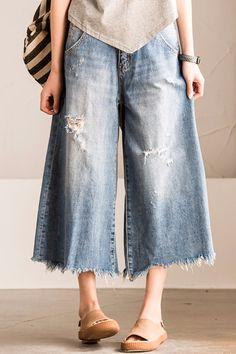 Blue Torn Edges Cowboy Boken Hole Jeans Wide-legged Pants Causel Women Clothes N7186A