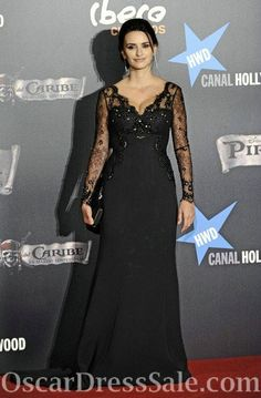 V Neck Chiffon Black Lace Penelope Cruz Evening Gown With Long Sleeves - OscarDressSale.com