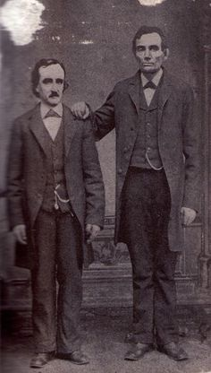 Edgar Allan Poe poses with Abraham Lincoln in Mathew Brady's Washington, D.C. studio- February 4th, 1849.