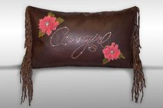 Leather Cowgirl Pillow by cowhidemirrors on Etsy, $250.00